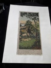 ANTIQUE UNFRAMED MOUNTED ETCHING COLOUR PRINT SIGNED G HUARDEL-BLY BRIDGE